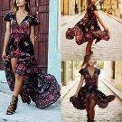 Vintage Celeb Women Deep V Neck Embroidered High Split Long Maxi Dress Beach New