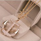 New Women Crystal Rhinestone Charm Gold Plated Anchor Sweater Fashion Necklace