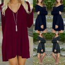 Fashion Women's Casual Long Sleeve Loose Evening Party Cocktail Short Mini Dress
