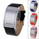 New LED Digital Date Watch Leather Strap Stainless Steel Lady Men Wristwatch