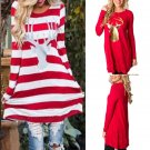 Fashion Women Ladies Christmas Santa Reindeer Long Sleeve Loose Short Mini Dress