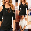 Women Short Sleeve Tops Casual Lace Up Tie Cold Off Shoulder Blouse T Shirt Tee