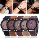 Bamboo Wood Vintage Quartz Watch Leather Band Dial Plate Wristwatch Men Women