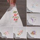 6pcs Vintage Cotton Embroidered Flower Lace Floral Hankies Handkerchief Women's