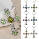 Fashion Silver Jewelry Cross Crystal Rhinestone Pendant Sweater Chain Necklace