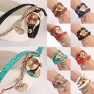 Women's Rhinestone Heart-Shaped Pendant Litchi Leather Bracelet Wrist Watch