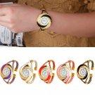 Fashion Women Lady Circle Round Crystal Bangle Cuff Quartz Bracelet Wrist Watch
