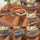 Fashion Braided Adjustable Leather Bracelet Punk Jewelry Cuff Women/Men`s Gift