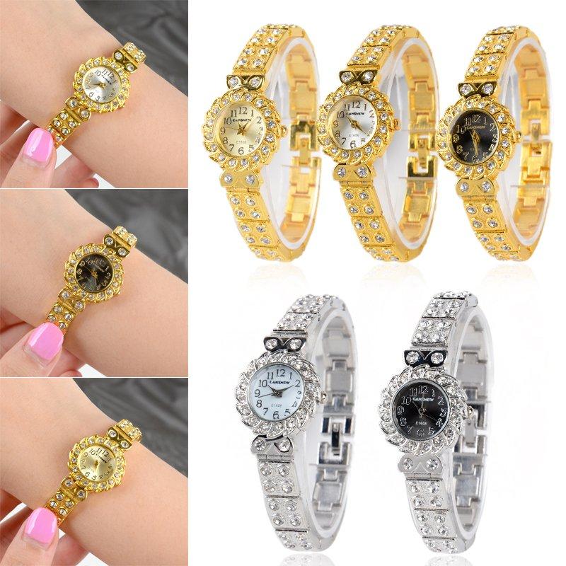 Fashion Women's Stainless Steel Crystal Rhinestone Wrist Watch Quartz Bracelet