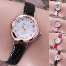 Fashion Womens Golden Small Round Dial Watches Leather strap Quartz wristwatch