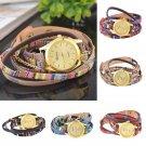 Women Fashion Retro Vintage Leather Quartz Multilayer Wrap Bracelet Wristwatches