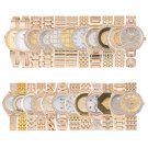 Women's Gold Bling Stainless Steel Luxury Rhinestone Quartz Watches