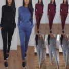 New Women Casual Long Sleeve Bodycon 2 piece Jumpsuit Club Bodysuit Long Pants