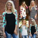 Fashion Women Ladies Floral Striped Print T Shirt Long Sleeve Casual Tops Blouse