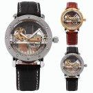 Luxury Skeleton Bridge Leather Steampunk Automatic Mechanical Men's Wrist Watch
