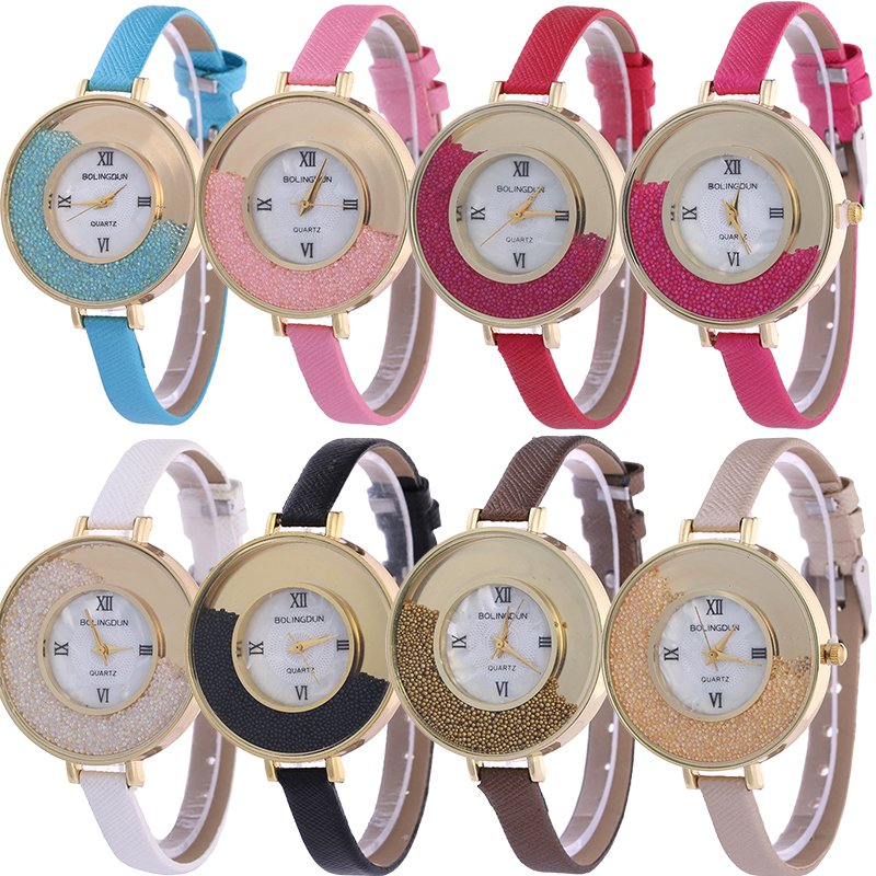 Fashion Women's Quicksand Leather Bracelet Round Dial Dress Quartz Wrist Watch