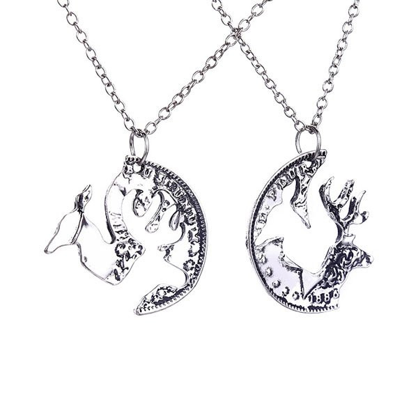 2Pc/Set Fashion Unisex New Browning Deer Buck Doe Couples Silver Necklace Hot