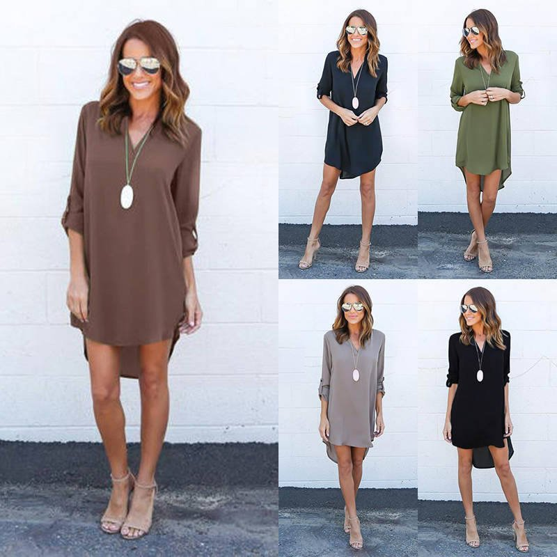 Women Blouse Chiffon Long Sleeve Ladies T Shirt Casual Loose Short Dress Tops