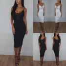 Womens Applique Sheer Mesh Bodycon Strappy Ladies Midi Party Dress Size S-2XL
