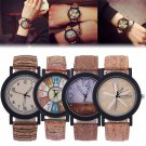 NEW Vintage Retro Leather Wrist Watch Flower Pattern Wood Grain Womens Watch