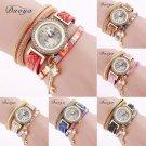 Women Crystal Rhinoestone Weaved Faux Leather Wrap Bracelet Quartz Wrist Watch