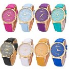 Casual Geneva Women Lady Hollow Watch Leather Band Wrist Watch Gift
