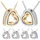 New Women Heart Crystal Rhinestone Silver Chain Pendant Necklace Jewelry Gift