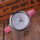 Fashion Women Stainless Steel Leather Strap Bracelet Casual Quartz Wrist Watches