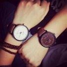 Watch Round Steel Case Men women Faux Leather Quartz analog wrist Watch