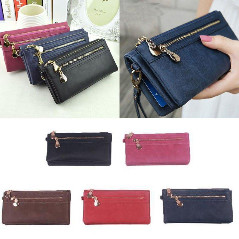 New Women PU Leather Wallet Ladies Card Coin Holder Long Purse Clutch Zipper Bag