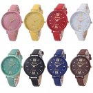 Fashion Women Geneva Roman Watch Lady Leather Band Analog Quartz Wrist Watch
