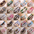 NEW Jewelry fashion Leather Cute Infinity Charm Bracelet Silver lots Style
