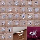 Fashion New Women Silver Plated Crystal Jewelry Lady Heart Ring Gift