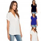 Plus Size S-2XL Women Ladies Summer V Neck Tops T-shirt Casual Loose Blouse Tee