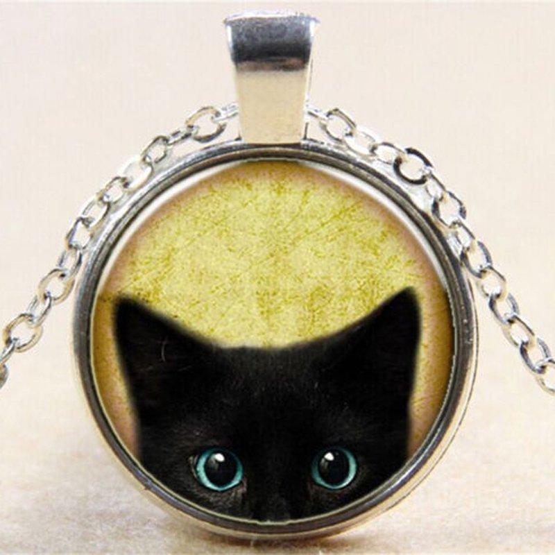 Vintage Black Cat Cabochon Silver Glass Chain Pendant Necklace NEW