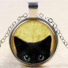 Vintage Black Cat Cabochon Silver Glass Chain Pendant Necklace NEW