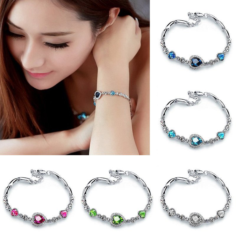 Hot Fashion Women Ocean Crystal Rhinestone Heart Bangle Bracelet Gift