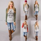 Women Fashion Casual Cotton Pullover Christmas Reindeer T-Shirt Tops Blouse