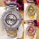 Fashion Women Ladies Bear Stainless Steel Quartz Rhinestone Crystal Wrist Watch