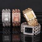 Luxyry Crystal Gold/Silver Lady Women Square Chain Bracelet Quartz Wrist Watch