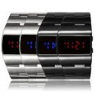 Fashion Men's Iron Military Digital Display Mirror Red/Blue LED Wrist Watches