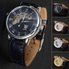 New Steampunk Men's Black Leather Band Skeleton Mechanical Sport Wrist Watch