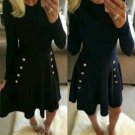 Women's Military Button Skater Swing dress Long Sleeve Ladies S-XL Plus Size