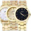 Luxury Men Gold Classic Analog Quartz Stainless Steel Wrist Watch Ornate