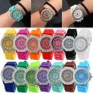 Geneva Fashion Rhinestone Jelly Gel Silicon Girl Women's Quartz Wrist Watch