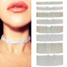 New Multilayer 3-12 Row Clear Rhinestone Silver Crystal Alloy Choker Necklace