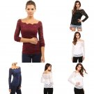 Plus Size S - XL Womens Long Sleeve Shirt Casual Lace Blouse Loose Tops Shirt