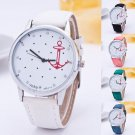 Hot Women's Casual Crystal Leather Band Anchor Analog Quartz Wrist Watch