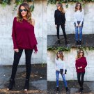 Womens Off the Shoulder Chunky Knit Jumper Ladies Oversized Baggy Sweater Top