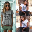 New Fashion Women Letter Printed Blouse Short Sleeve Casual Cotton T shirt Tops
